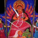 বোলপুরের অনতিদূরে সেরান্দী গ্রামের পটের দুর্গাপুজো যেন এক জাঁকহীন জৌলুস
