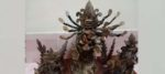 নারকেল গাছের পরিত্যক্ত অংশ দিয়ে দুর্গা প্রতিমা গড়লেন রানাঘাট কুপার্সের যুবক